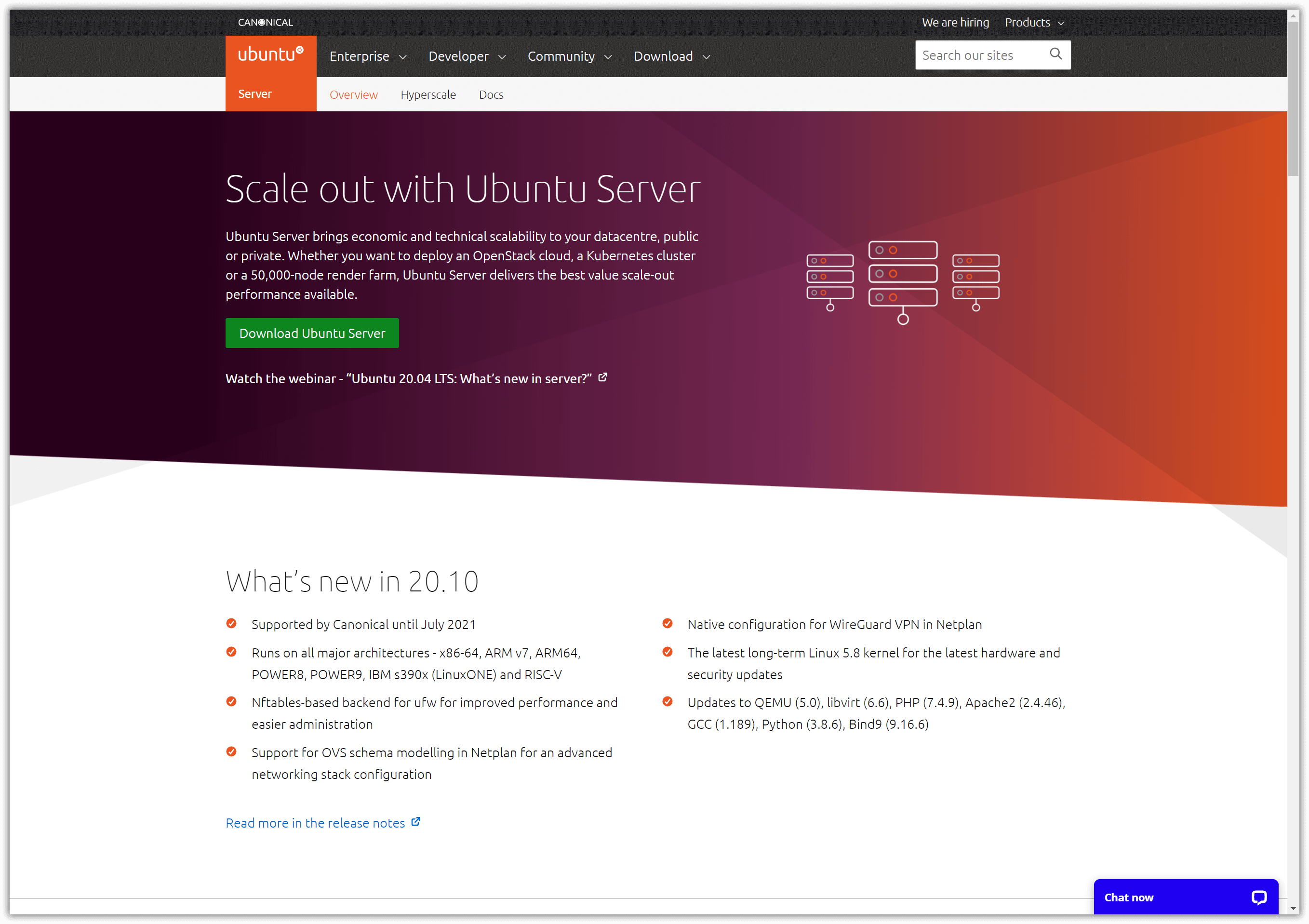 Die Ubuntu Server-Homepage